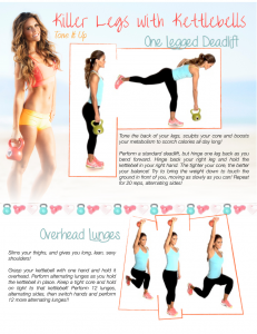 kettlebell deadlift and lunges moves printable workout