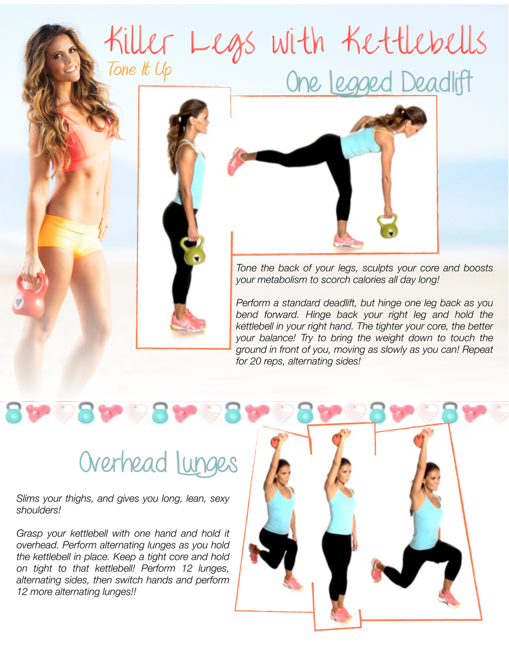 Kettlebell printable workout deadlift and lunges move