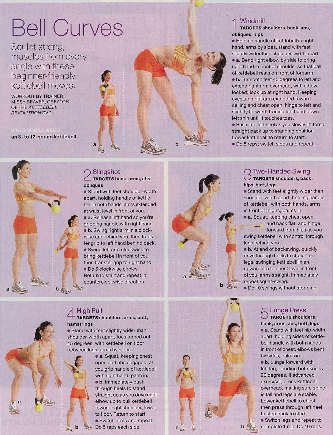 printable women's kettlebell workouts for beginners
