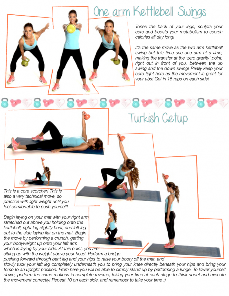 Free printable kettlebell workouts: Swing and Turkish Get Up for sculpting and toning
