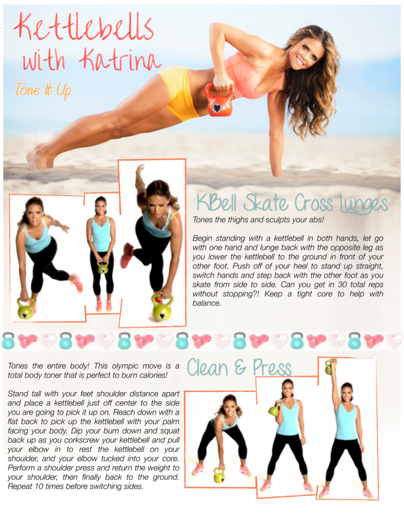 free printable kettlebell workouts - Skate Cross Lunges and Clean Press for toning